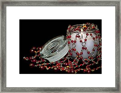 Candle And Beads Framed Print by Carolyn Marshall