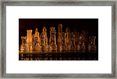 Candle Lit Chess Men Framed Print by Lori Coleman