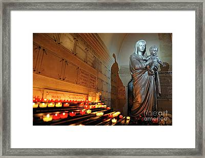 Candles And Virgin Mary With Infant Framed Print by Sami Sarkis