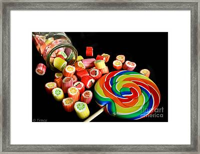 Candy Rocks  Candy Sucker Framed Print by Tracy  Hall