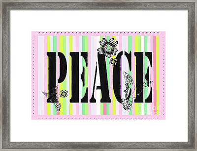 Candy Stripe Peace Juvenile Licensing Framed Print by Anahi DeCandy