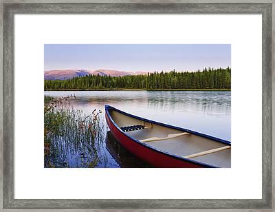 Canoe And Boya Lake At Sunset, Boya Framed Print by Yves Marcoux