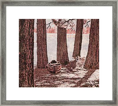 Canoe In The Woods Framed Print by Cheryl Young