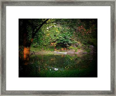 Canoe On Cacapon Framed Print by Michael L Kimble
