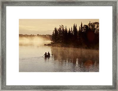 Canoeing On Winnipeg River, Pinawa Framed Print by Dave Reede