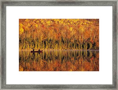 Canoeists At Sunrise, Lac Bouchard, La Framed Print by Ron Watts