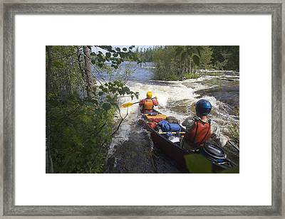 Canoeists Run A Rapid On The Winisk Framed Print by Skip Brown
