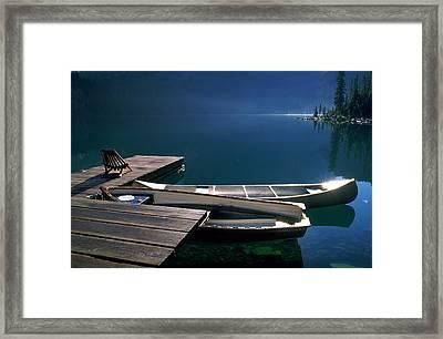 Canoes, Lake Ohara, Yoho National Park Framed Print by David Nunuk