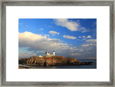 Cape Neddick Nubble Lighthouse Maine Framed Print by John Burk