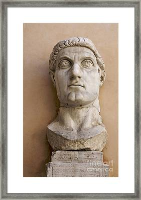 Capitoline Museums Palazzo Dei Conservatori- Head Of Emperor Con Framed Print by Bernard Jaubert