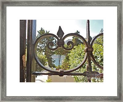 Capri Through Gate Framed Print by Italian Art