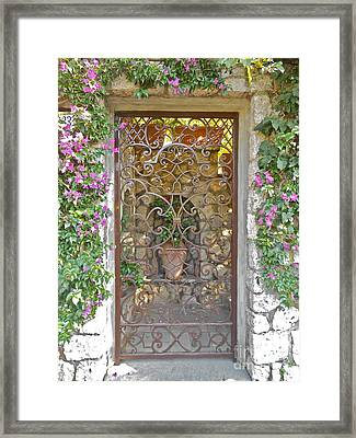 Capri-timeless Gate Framed Print by Italian Art