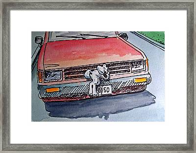 Car Hood Sketchbook Project Down My Street Framed Print by Irina Sztukowski