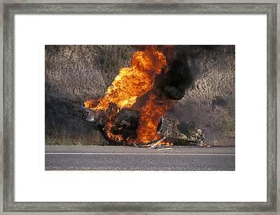 Car In Flames Framed Print by Kaj R. Svensson