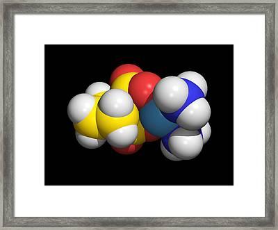 Carboplatin Molecule, Cancer Drug Framed Print by Dr Tim Evans