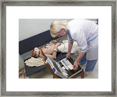 Cardiogram In Surrogate Alcohol Poisoning Framed Print by Ria Novosti