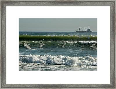 Cargo And Waves Framed Print by Sami Sarkis