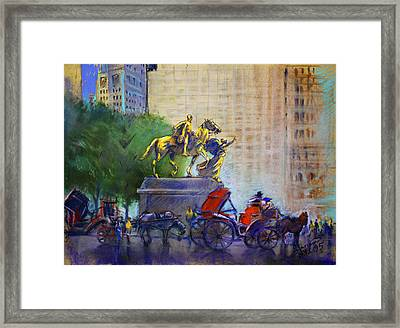 Carriage Rides In Nyc Framed Print by Ylli Haruni