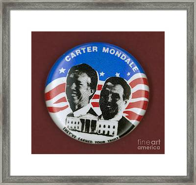 Carter Campaign Button Framed Print by Granger