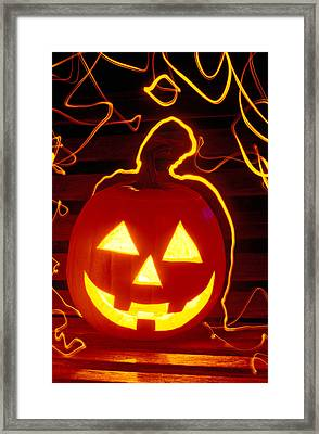 Carved Pumpkin Smiling Framed Print by Garry Gay
