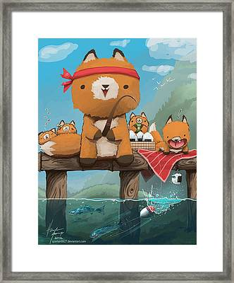 Cast Away Your Problems Go Fishing Framed Print by Hunter Mooney
