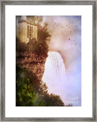 Castle At The Edge Of The Falls Framed Print by Jill Battaglia