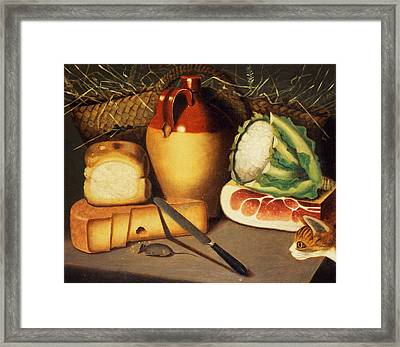 Cat Mouse Bacon And Cheese Framed Print by Anonymous