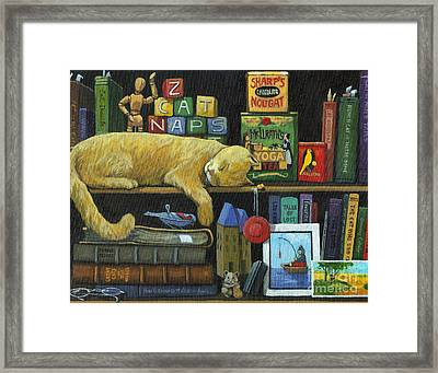 Cat Naps - Old Books Oil Painting Framed Print by Linda Apple