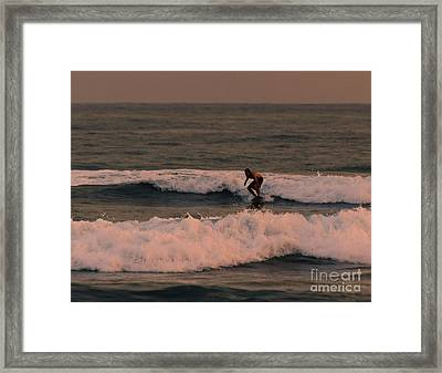 Catchin The Sunset Surf Framed Print by Darcy Michaelchuk
