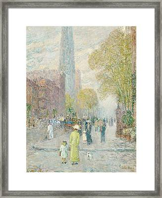 Cathedral Spires Framed Print by Childe Hassam