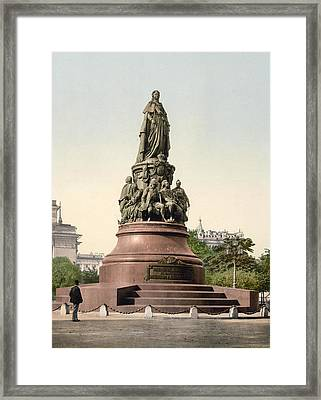 Catherine II Monument In St. Petersburg Russia Framed Print by International  Images