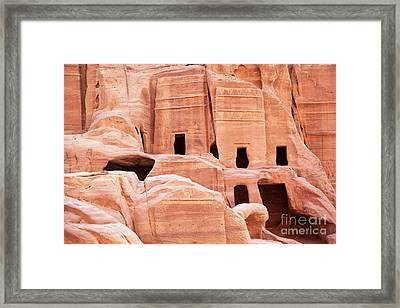 Cave Dwellings Petra. Framed Print by Jane Rix