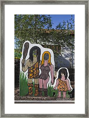 Caveman Family Portrait Display Framed Print by Paul Edmondson