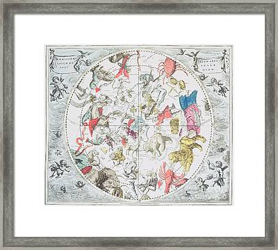 Celestial Planisphere Showing The Signs Of The Zodiac Framed Print by Andreas Cellarius