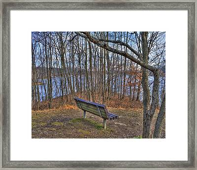 Centennial Lake Bench Framed Print by Stephen Younts