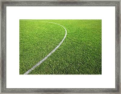 Center Circle On Football Pitch Framed Print by Richard Newstead