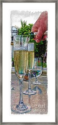 Champagne At The Beach Framed Print by Joan  Minchak