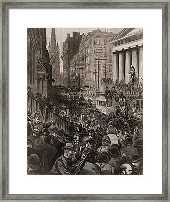 Chaotic Scene On Wall Street, Nyc Framed Print by Everett