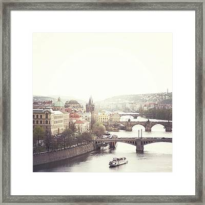 Charles Bridge Crossing Vltava River Framed Print by Image - Natasha Maiolo