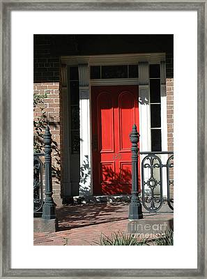 Charleston Red Door - Red White Black Door With Iron Gate Posts Framed Print by Kathy Fornal