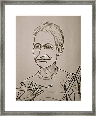 Charlie Watts Framed Print by Pete Maier