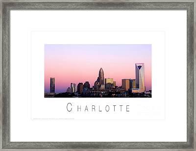 Charlotte Nc Skyline Pink Sky Framed Print by Patrick Schneider