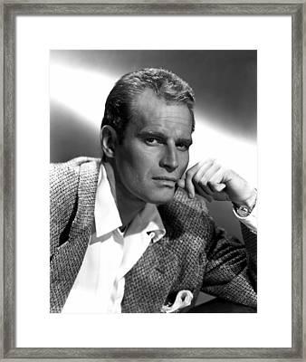 Charlton Heston, 1950s Framed Print by Everett