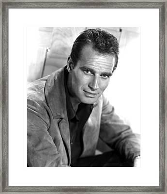 Charlton Heston, C. Mid 1950s Framed Print by Everett