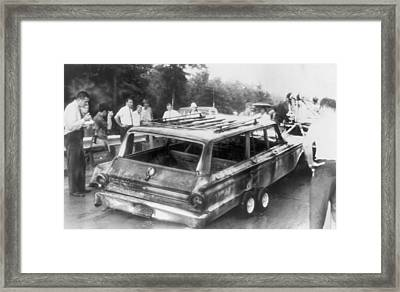 Charred Remains Of Station Wagon Driven Framed Print by Everett