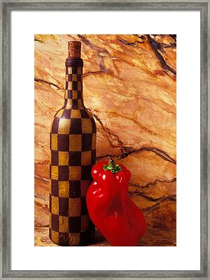 Checker Wine Bottle And Red Pepper Framed Print by Garry Gay