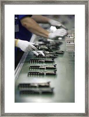 Checking Tv Circuit Board Components Framed Print by Ria Novosti