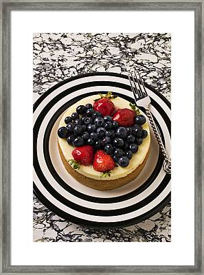 Cheese Cake On Black And White Plate Framed Print by Garry Gay