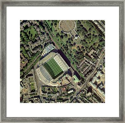 Chelsea's Stamford Bridge Stadium, Aerial Framed Print by Getmapping Plc