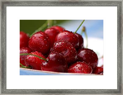 Cherries Framed Print by Emanuel Tanjala